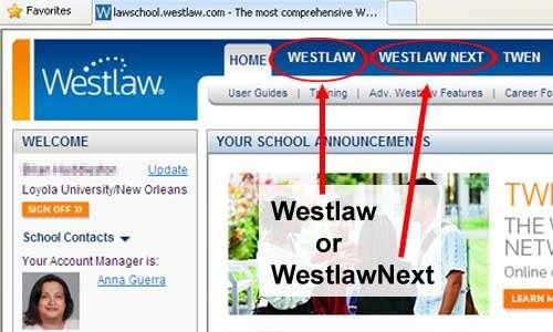 Westlaw law school page