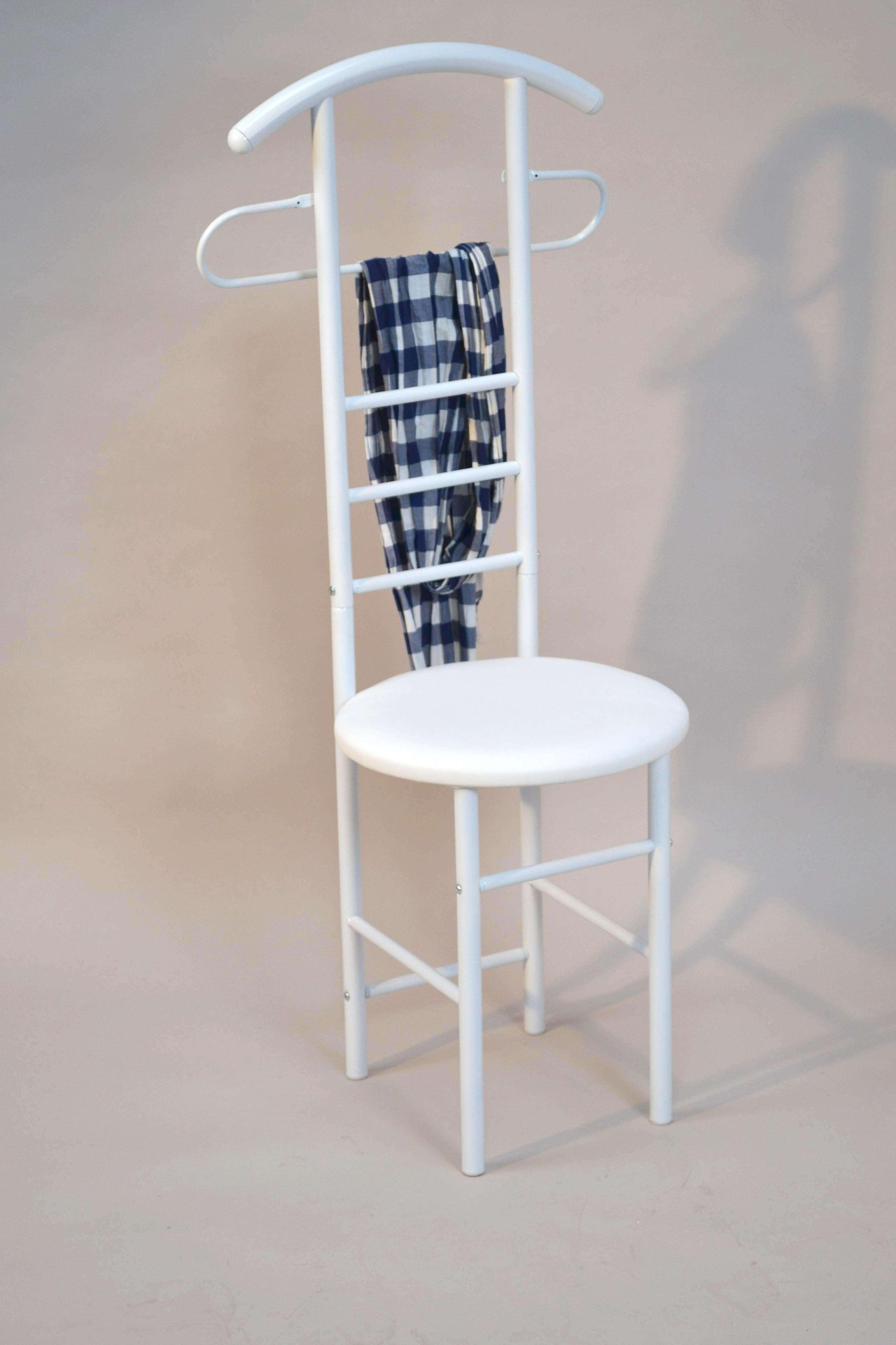 herrendiener stummer diener garderobe kleiderst nder wei mit sitz stahlrohr ebay. Black Bedroom Furniture Sets. Home Design Ideas